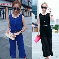 Hot-selling 2014 k618 fashion sleeveless loose slim waist high waist culottes boot cut chiffon jumpsuit