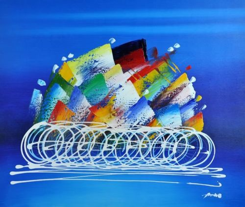 Painted oil painting 24 x20 abstract sports bicycle riding art 2186