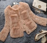 100% Real Rex Rabbit Fur Coat, Natural Rex Rabbit Fur knitted Jacket SU-14009 EMS Free Shipping