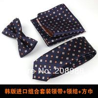 Fashion Men's tie + pocket square + bowtie set groom necktie set Christmas Gift free shipping 1 set #1677