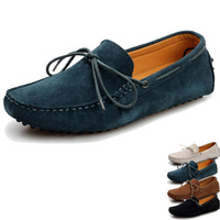 2014 New Lace-up Nubuck Genuine Leather Suede driving Moccasins Shoes Flat Shoes Brown/ White/ Blue/ Green US SIZE 6.5-10