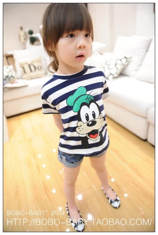 New Arrival,Goofy Navy blue & White Striped Girl's Short Sleeve T Shirts Cartoon Character Kids Summer Tops Tee Stripe T-Shirt(China (Mainland))