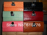 High quality Michaelss ostrich    lock wallet genuine leather pures free shipping 10pcs/lot
