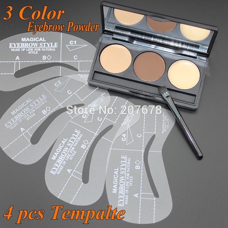 2014 NEW Eyebrow Shaping Powder Palette + 4 Stencils + Eyebrow Wax Makeup Kit Free Shipping(China (Mainland))