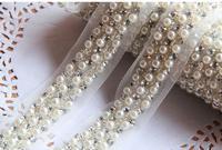 10Yards 4cm Pearl Rhinestone Beaded Lace Trim Vintage Mesh Fabric Paillette Chemical Lace Wedding Dress Dentelle Applique AC0206