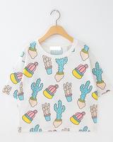 2014 small fresh fashion vintage cactus cartoon young girl short design short-sleeve T-shirt women t shirt Tops free shipping