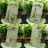 1 Pcs Pretty handmade Bling Flower Tower Angel Butterfly Bow Flip PU Leather Case For LG Google Nexus 4 E960