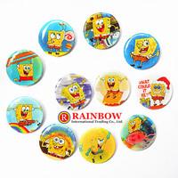 New Arrival 25mm SpongeBob SquarePants tin badges Lovely Round button pin badge Kids gift Wholesale 108PCS/lot Free Shipping