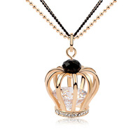 2014 Newest Fashion Retro Imperial Crown Long Sweater Chain AAA+ Swiss Cubic Zirconia Diamond Pendant Necklace