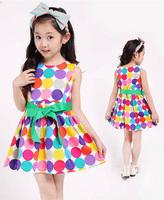 5pcs Wholesale girls summer dress  princess style girl polka dot dresses 4~12Y 2014 new arrival child sleeveless fashion dress