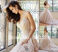 New Arrival Custom Made Sweetheart Off The Shoulder vestido de noiva A-Line Sleeveless Ruffle Bridal Gowns Wedding Dresses 2014