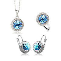 Wholesale  temperament semicircular ear clip Austria crystal earrings necklace ring three piece suit - Moon River 1075--140