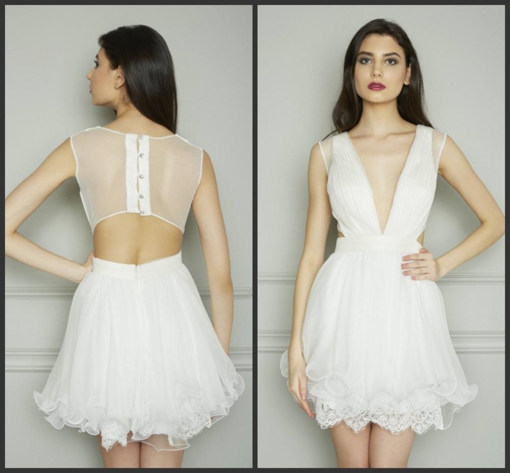 White dress cocktail - Zuhair Murad Fashion White Deep V Neck Lace Short Chiffon Cocktail Dresses Taylor Schilling Celebrity Dresses P0073