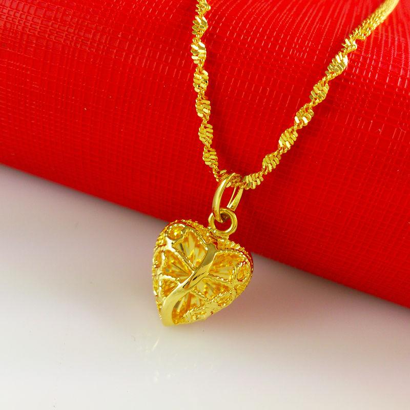2015 New necklace Wholesale Free shipping 24k gold necklace heart shaped necklace pendant fashion jewlery women