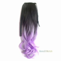Fashion Black to light Purple Curly Ponytail Hair Extensions (NWG0HE60930-HK2)