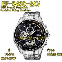 EF-543D-2AV New EF-543D-2A EF-543D 543D Mens Sport Chronograph Watch Blue Dial Gents Wristwatch 1/20 Second Stopwatch Pendulum