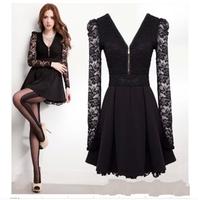 Summer lace patchwork zipper V-neck expansion bottom dress one-piece dress