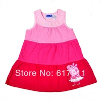 Wholesale 7pcs/lot baby girls brand clothing girls summer dress Peppa Pig sleeveless casual sports dresses kids dress children