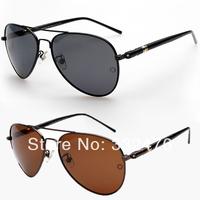Luxury fashion brand retro metal frame glass lenses polarized sunglasses driving mirror New 2014 mercedes men sunglasses