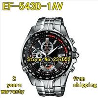 New EF-543D-1AV EF-543D-1A EF-543D 543D Men's Sport Chronograph Watch 1/20 Second Stopwatch Pendulum Swing Function