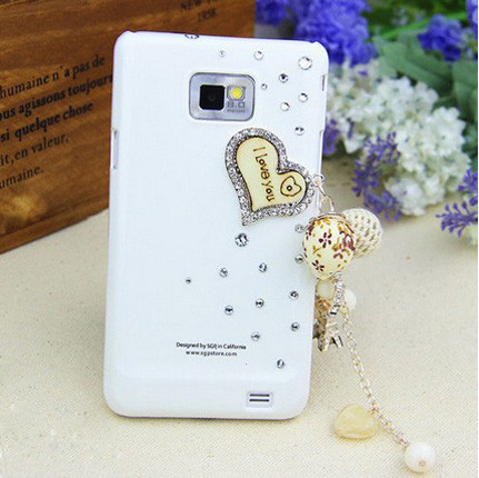 New 3D Love Pendant bling Crystal Rhinestone diamond Mobile phone Hard case back cover For Samsung Galaxy S2 i9100 Free shipping(China (Mainland))