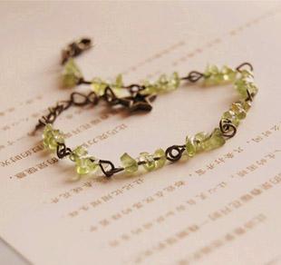 Natural Green Olivine Stone Bracelets Star Link Handmade Jewelry sl022(China (Mainland))