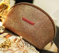 Super Discount! 3 piece/Set 2014 New Fashion 100% quality Guaranteed women clutch cosmetic bag elegant Gold makeup bag