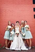 Hot Sale Fashion Light Blue Chiffon Bridesmaid Dresses 2014 New Sweetheart Elegant Floor Length Dress