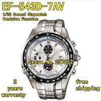 EF-543D-7AV New EF-543D 543D Men's Sport Chronograph Watch White Dial Wristwatch 1/20 Second Stopwatch Pendulum Function