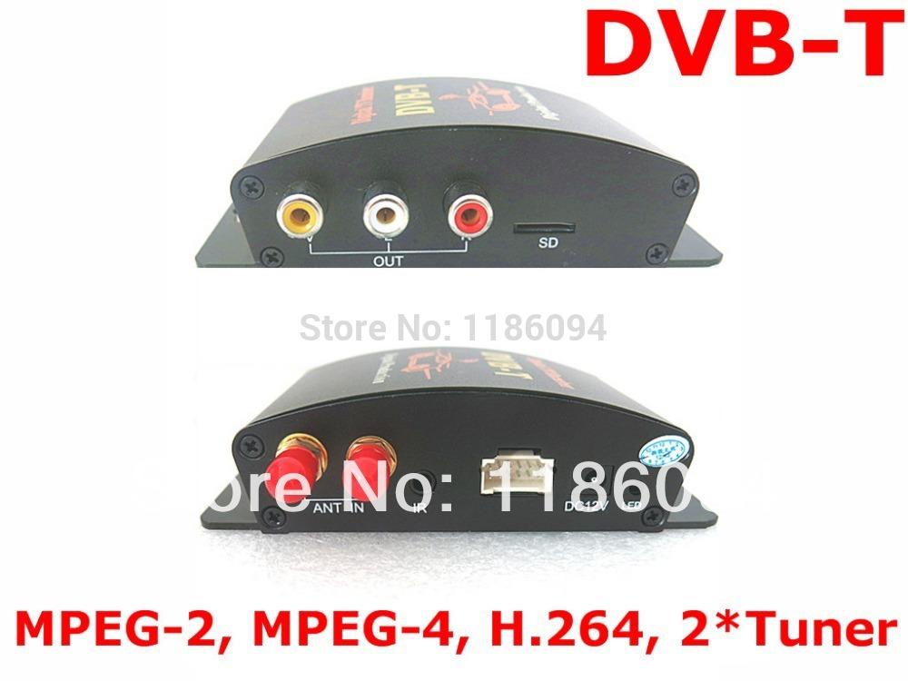 car digital tv receiver M-629S DVB-T MPEG-4/H.264 2 video output antenna USB slot for Dual tuner Digital TV receiver(China (Mainland))