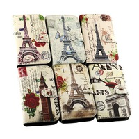 Flower Eiffel Tower Clock Tower Triumphal arch design Leather Case Back Cover Shell for Samsung Galaxy Trend Lite S7390 S7392