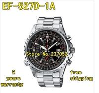 New EF-527D-1AV Men's Series Black Dial EF-527D 100M Sports Chronograph 527D Watch 1/20 Second Stopwatch Swing Pendulum Function