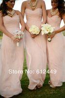 Fashion Hot Sale Pink Chiffon Bridesmaid Dresses Sweetheart Elegant Floor Length Dress 2014 New