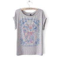 2015 New korean style fashion 2014 Woman t shirt Summer Short Sleeve Cotton Cartoon  elephants  O-neck tops printing t shirt