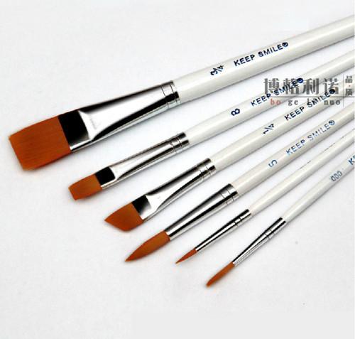 New 6 pcs different shape nylon hair paint brush gouache watercolor brush oil painting acrylics brush art supplies(China (Mainland))