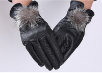 3 buttons design women genuine sheepskin leather gloves Winter warm black ladies leather gloves  24.5x11cm
