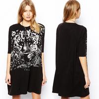 New Spring/Summer 2014 Fashion Round Neck Short Sleeve Leopard Dress Women Leopard Head Dress Vestido