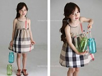 Foreign trade children's classic plaid bow Dress Girls 14 spring and summer brand retail