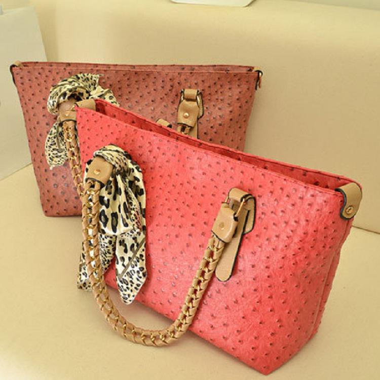 Free Shipping 2014 fashion all-match fashion ol women's handbag ostrich grain silk scarf big bag one shoulder bag handbag(China (Mainland))
