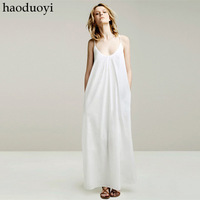 Spring and summer cotton panpiemras lookbook paragraph ultra long spaghetti strap full dress one-piece dress haoduoyi