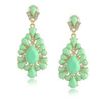 New Elegant Faux Stone Drop Earrings 2014 Fashion Jewelry Pink Beige Multi Mint 4 Colors Mint Earrings