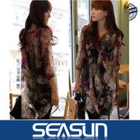 2014 spring and summer graffiti color printing irregular V-neck chiffon shirt dress