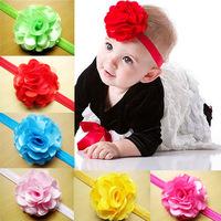 Baby Satin Flower Headbands infant headbands Big Chiffon flower hairbands Girls hair accessories 30pcs/lot 12color