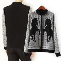 2014 spring fashion topsh p grey diiminosuccinonitrilo pattern print turn-down collar long-sleeve shirt chiffon shirt