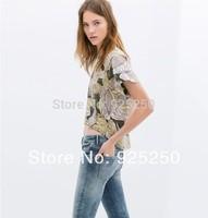 women 2014 summer chiffon top,women's  vintage floral print short sleeve blouse asymmetric ruffles cropped top