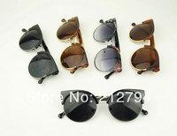 Hot Sale Men&Women New Fashion Retro Sunglasses Roand Lens 6colors 10pcs/lot Free shipping