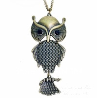Hot Selling Free Airmail Shipping Fashion High Quality Vintage Three-dimensional Owl Necklace N269