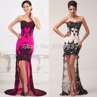 Free Shipping 1pc/lot Grace Karin High-Low Chiffon + Lace Designer Short Front Long Back Evening Dress CL6044