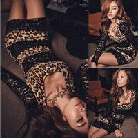 Free shipping Sexy Women mini Leopard lace stitching Party dress Evening Mini Slim Leopard Dress
