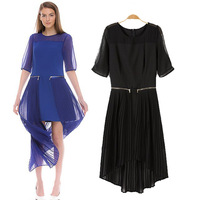 2014 spring and summer new arrival fashion patchwork pleated the disassemblability twinset one-piece dress irregular